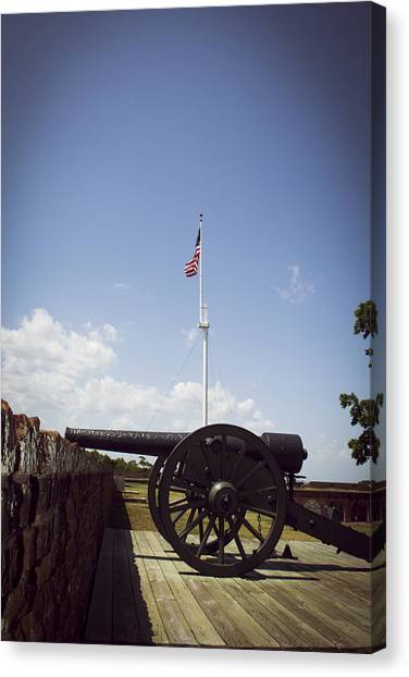 Fort Pulaski Cannon And Flag Canvas Print