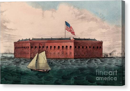 Confederate Army Canvas Print - Fort Sumter, Charleston Harbor, South Carolina by Currier and Ives