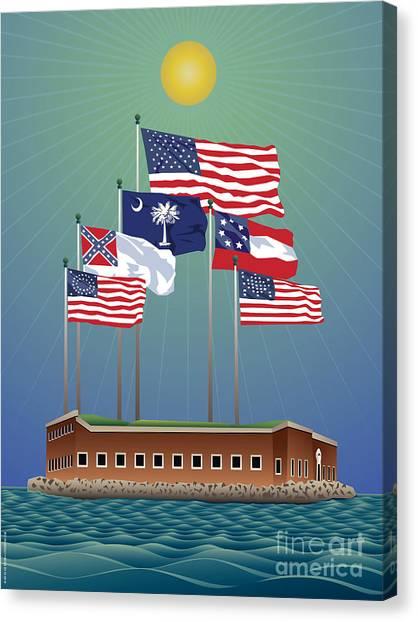 Us Civil War Canvas Print - Fort Sumter, Charleston, Sc by Joe Barsin