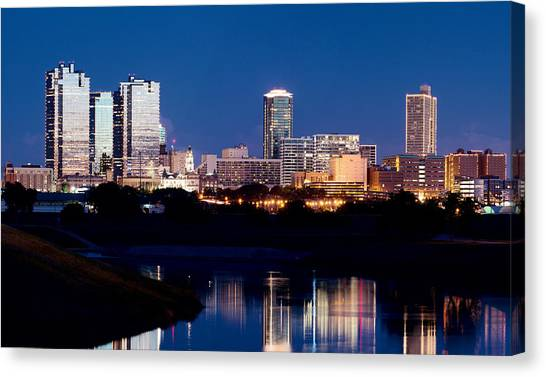 Fort Worth Skyline At Night Poster Canvas Print