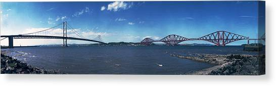 Forth Road And Railway Bridges Canvas Print by Donald Buchanan