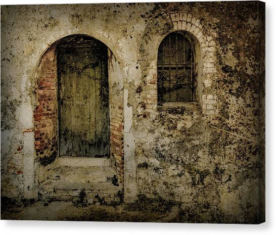 Canvas Print featuring the photograph Corfu, Greece - Fortress Door by Mark Forte