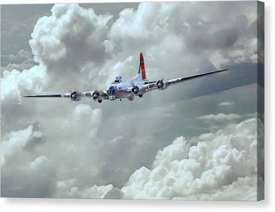 United States Army Air Corps Canvas Print - Fortress In The Clouds by Peter Chilelli