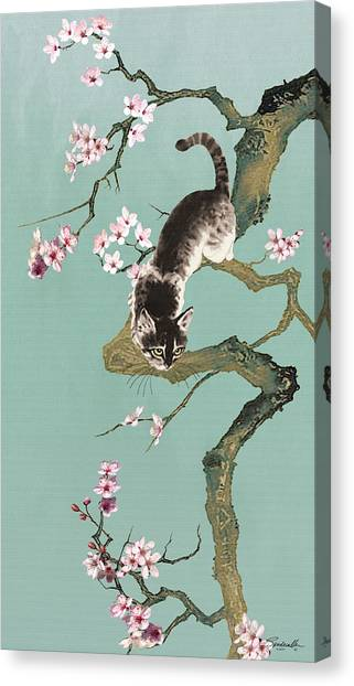 Fortune Cat In Cherry Tree Canvas Print