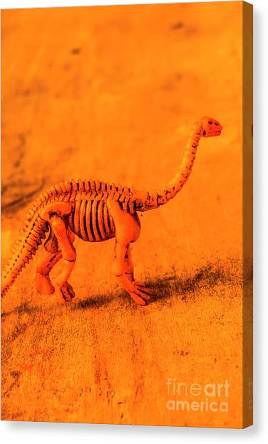 Ancient Art Canvas Print - Fossilised Exhibit In Toy Dinosaurs by Jorgo Photography - Wall Art Gallery