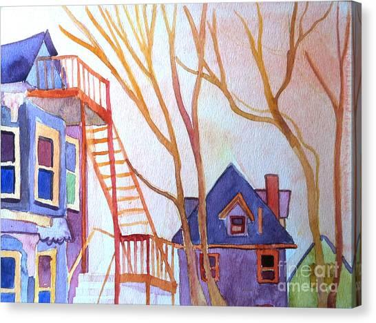 Foster Street Lowell Watercolor Canvas Print by Debra Bretton Robinson