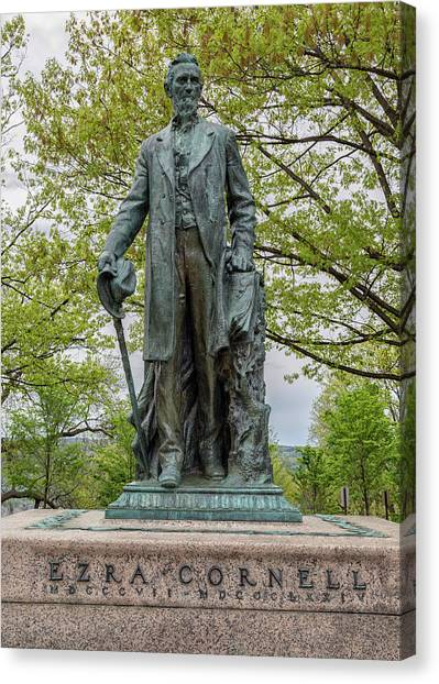 Cornell University Canvas Print - Founder - Ezra Cornell by Stephen Stookey