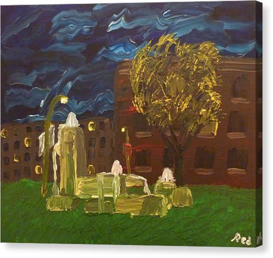 Fountain At Night Canvas Print
