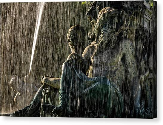 Fountain At Rossio Square Canvas Print