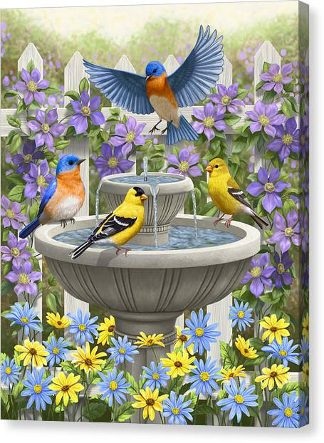 Bluebirds Canvas Print - Fountain Festivities - Birds And Birdbath Painting by Crista Forest