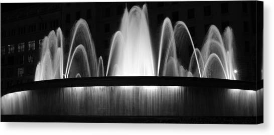 Fountain In Barcelona Canvas Print