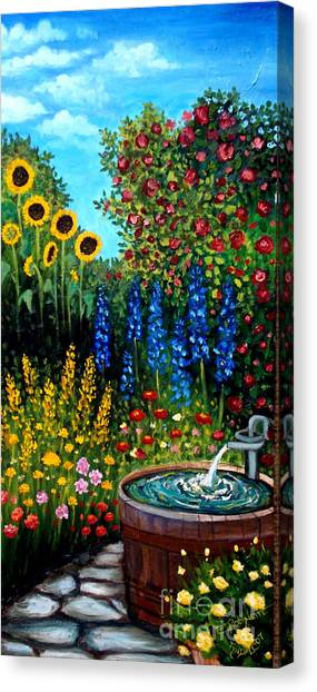Fountain Of Flowers Canvas Print