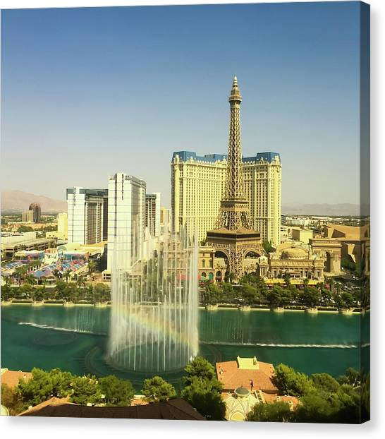 Canvas Print featuring the photograph Fountain Rainbow by Chris Feichtner