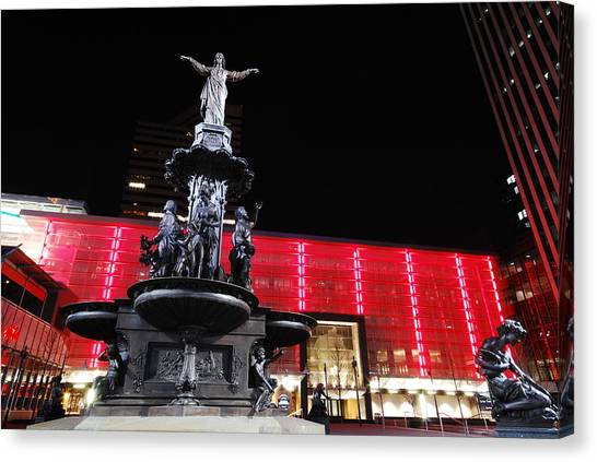 Fountain Square Canvas Print by Russell Todd