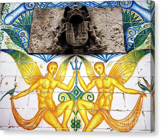 Fountain Tile Design In Barcelona Canvas Print by John Rizzuto