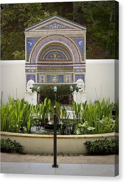 J Paul Getty Canvas Print - Fountains At The Getty Villa by Teresa Mucha
