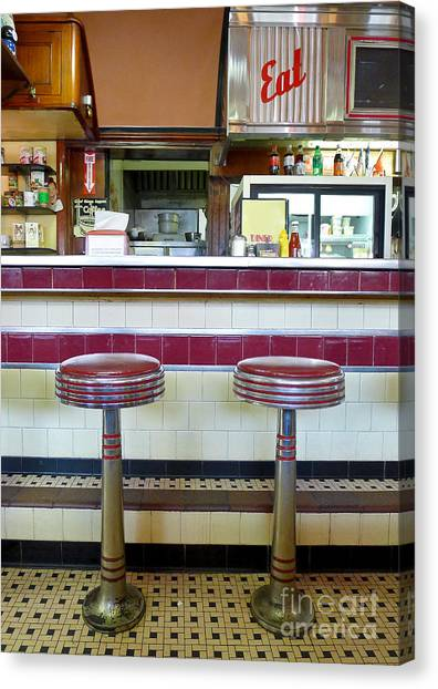 Stool Canvas Print - Four Aces Diner by Edward Fielding