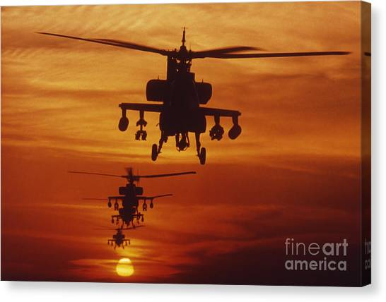 Canvas Print featuring the photograph Four Ah-64 Apache Anti-armor by Stocktrek Images