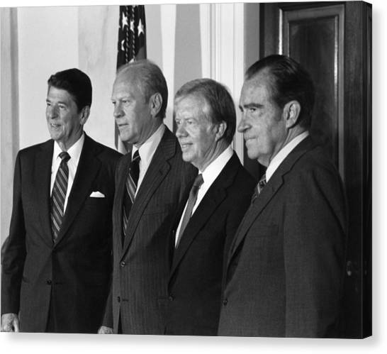 Ronald Reagan Canvas Print - Four American Presidents Posing Together - 1981 by War Is Hell Store