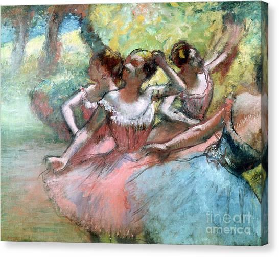 Ballerinas Canvas Print - Four Ballerinas On The Stage by Edgar Degas
