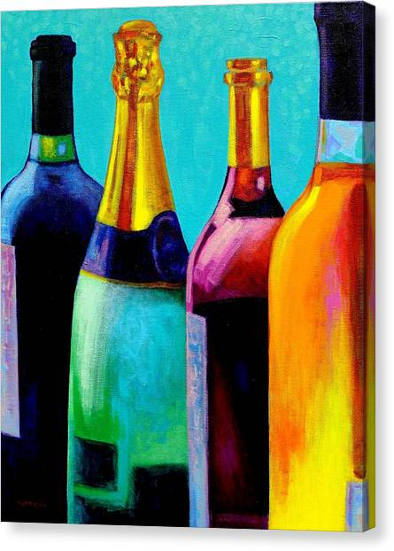 Champagne Canvas Print - Four Bottles by John  Nolan