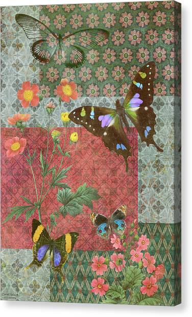 Quilts Canvas Print - Four Butterfly Patch Green by JQ Licensing