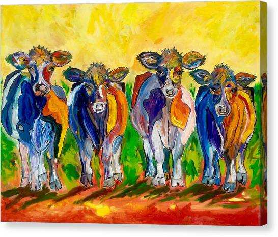 Cow Farms Canvas Print - Four Cows by Julia S Powell