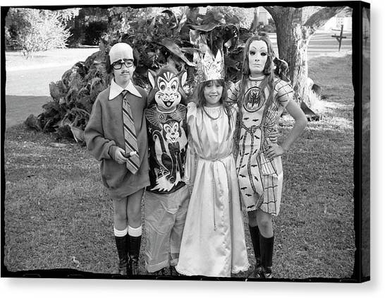Four Girls In Halloween Costumes, 1971, Part One Canvas Print