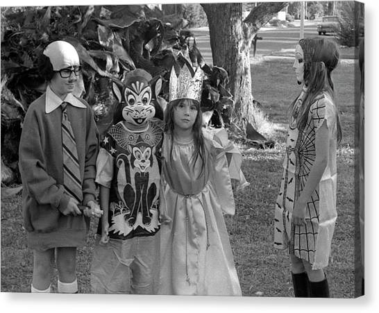 Four Girls In Halloween Costumes, 1971, Part Two Canvas Print