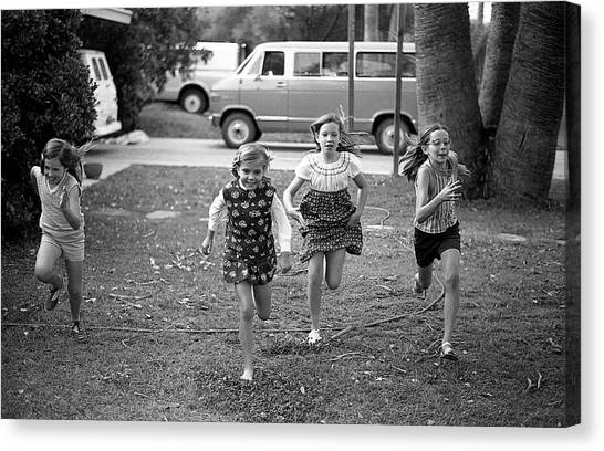 Four Girls Racing, 1972 Canvas Print