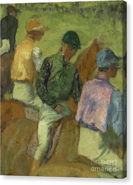 Edgar Degas Canvas Print - Four Jockeys by Edgar Degas