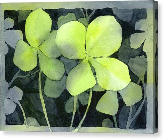 Four Canvas Print - Four Leaf Clover Watercolor by Olga Shvartsur