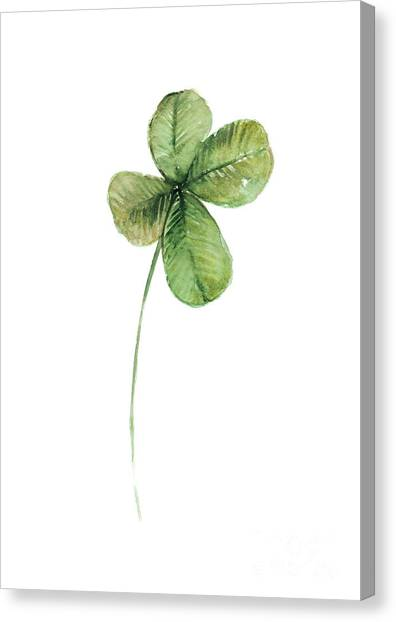Flower Canvas Print - Four Leaf Clover Watercolor Poster by Joanna Szmerdt