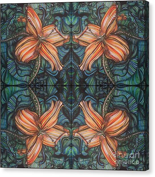 Four Lilies Looking In Canvas Print