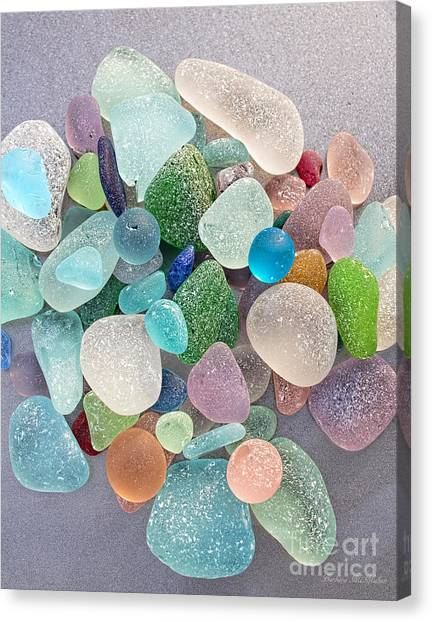 Four Marbles And A Rainbow Of Beach Glass Canvas Print