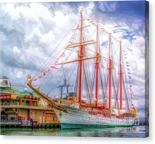 Four Masted Schooner In Port Canvas Print