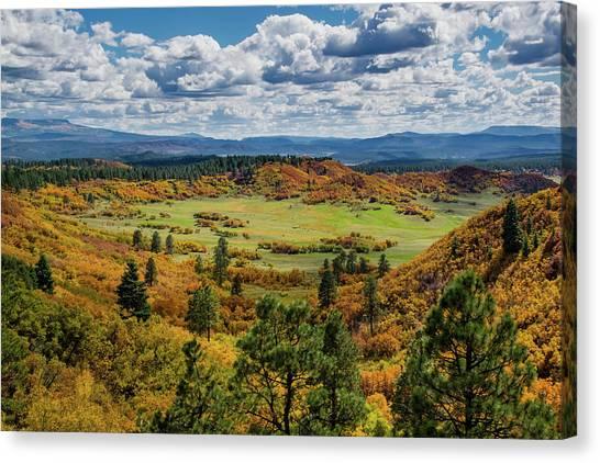 Canvas Print featuring the photograph Four Mile Road Peak Color by Jason Coward