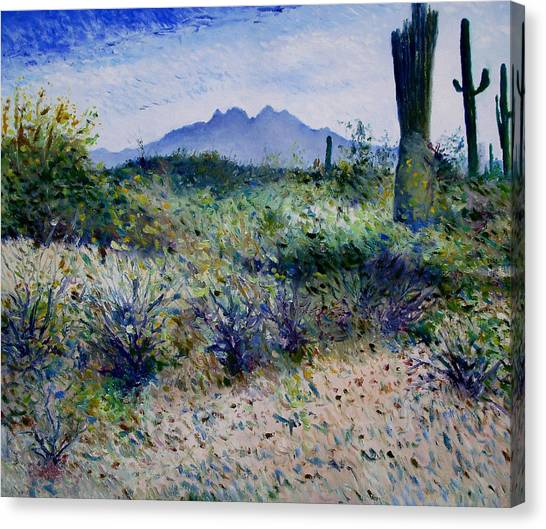 Four Peaks Phoenix Arizona Usa 2003  Canvas Print by Enver Larney