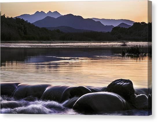 Desert Sunrises Canvas Print - Four Peaks Rocky Waterflow by Dave Dilli
