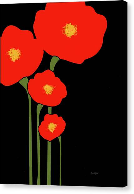 Four Red Flowers On Black Canvas Print