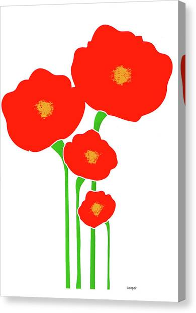 Four Red Flowers Canvas Print