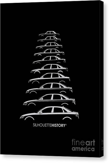 Audi Canvas Print - Four Rings Sedan Silhouettehistory by Gabor Vida