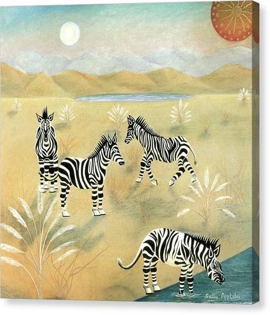 Four Zebras Canvas Print by Sally Appleby