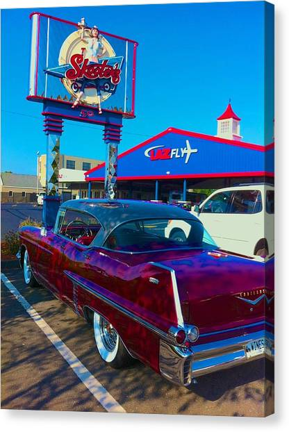 Fourth Of July Classic Car At Skeeters Canvas Print