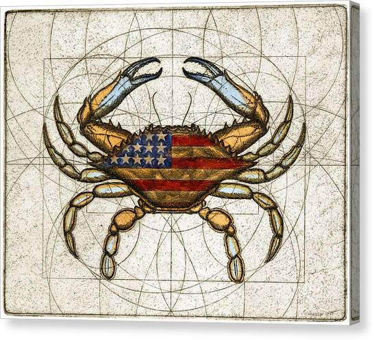 Fourth Of July Crab Canvas Print