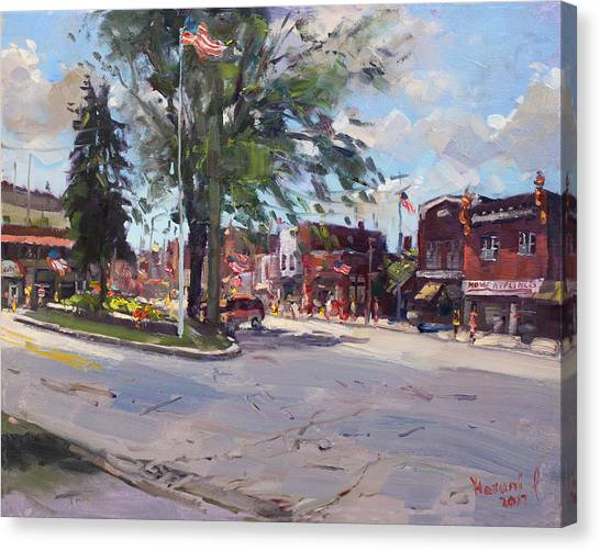 Bistros Canvas Print - Fourth Of July In North Tonawanda by Ylli Haruni
