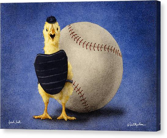 Baseball Canvas Print - Fowl Ball... by Will Bullas
