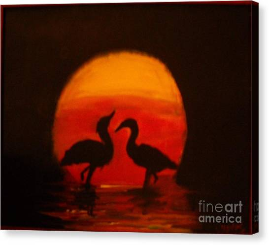 Fowl Love Silhouette Canvas Print by Leslie Revels