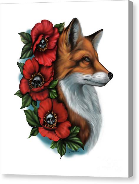 Fox And Poppies Canvas Print