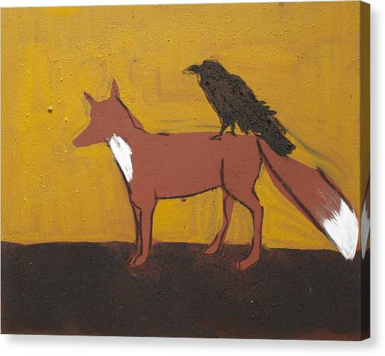 Celtic Art Canvas Print - Fox And Raven by Sophy White
